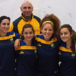 Laura (second from left), WA and Australian Coach Mark Abro and Raffi (right)