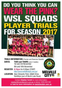 Melville City Plpayer Trials Premier League