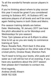 Subiaco United preseason