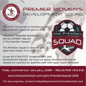 FCFC are proud to introduce our new  '2018 PREMIER WOMEN'S DEVELOPMENT SQUAD' Open to all Girls from U13 to U17's.